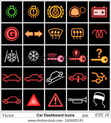 Car Battery Vector Car Dashboard Vector Icons
