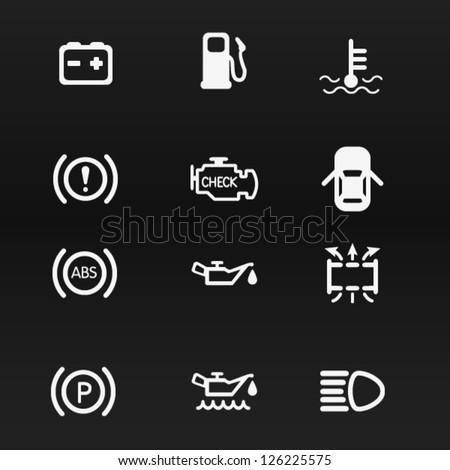 Car Battery Vector Car Dashboard Vector Icons Set