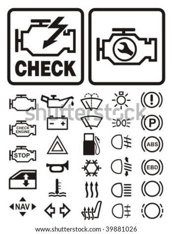 Car dashboard warning & information icons set.