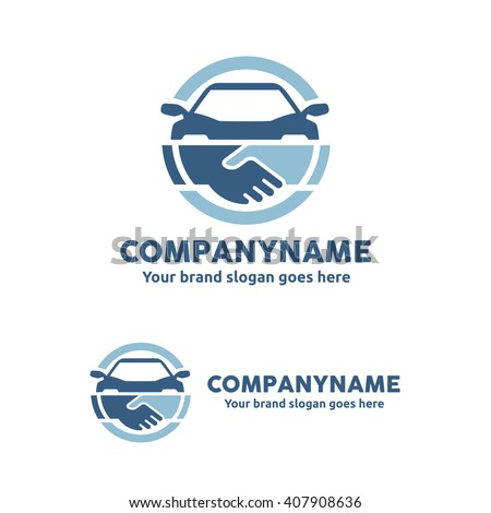 Car Deal with Hand shake symbol Logo Template