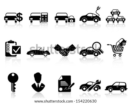 car dealership icons set