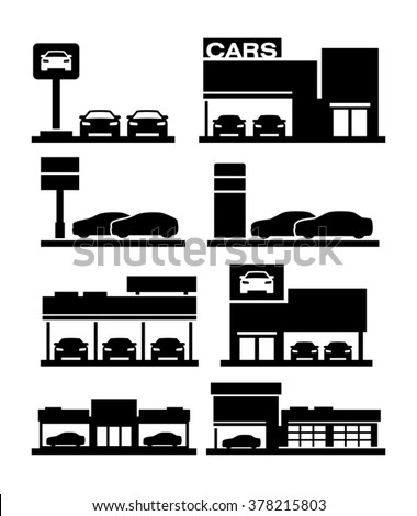 Car dealership store building icons
