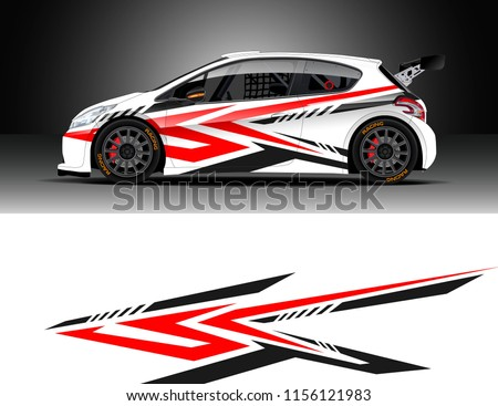 Car decal design vector. Graphic abstract stripe racing background designs for vehicle, race, rally, adventure and car racing livery.