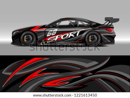 Car decal graphic vector, wrap vinyl sticker. Graphic abstract stripe designs for Racing vehicles.