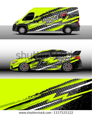 Car decal, Truck and cargo van design vector. Graphic abstract stripe racing background designs for wrap vehicle, race, rally, adventure and car racing livery.