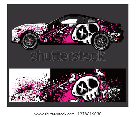 Car decal vector, grunge abstract designs for vehicle Sticker vinyl wrap
