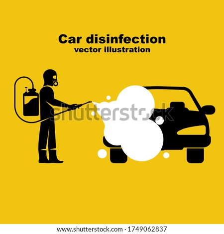 Car disinfection black icon. Cleaning and washing vehicle. Prevention coronavirus covid-19. Man in hazmat. Spraying from bacteria.Vector illustration flat design. Clean car with a disinfectant spray