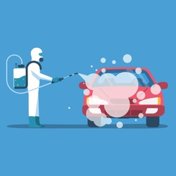 Car disinfection. Cleaning and washing vehicle. Prevention coronavirus covid-19. Man in hazmat. Spraying from bacteria. Vector illustration flat design. Clean surfaces in car with a disinfectant spray