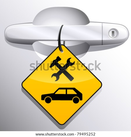 car door handle and car service station sign - vector illustration