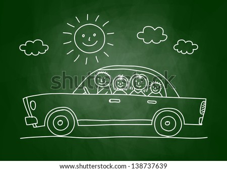 Car drawing on blackboard