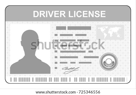 Car driver license identification card with photo. Driver license vehicle identity document. Stamp, barcode, plastic id card. Vector illustration in flat style
