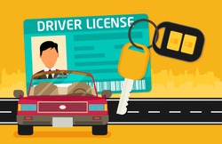 Car driver license identification with photo, keys and car.