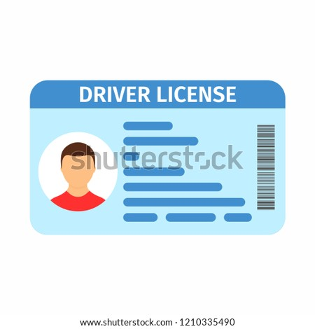 Car driver license with photo. Id card, person data. Vector