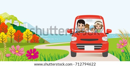 car driving in the autumn road