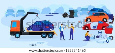 car dump junkyard vector