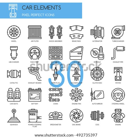car elements   thin line and