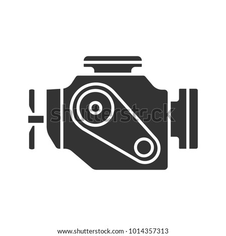 Car engine glyph icon. Motor. Silhouette symbol. Negative space. Vector isolated illustration