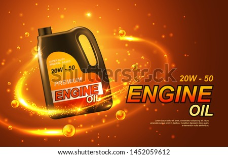 Car engine oil, automobile motor lubricant poster. Vector premium engine oil advertisement with golden splash,sparkling drops around canister bottle of synthetic or mineral engine oil. Mixed media