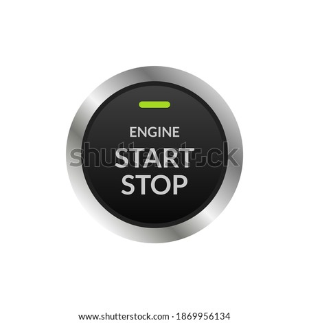 Car engine start stop button ignition. Push circle button engine stop start quality Foto stock ©