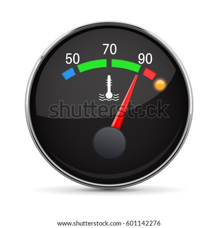 Car engine temperature gauge. Hot. With metal frame. Vector 3d illustration isolated on white background