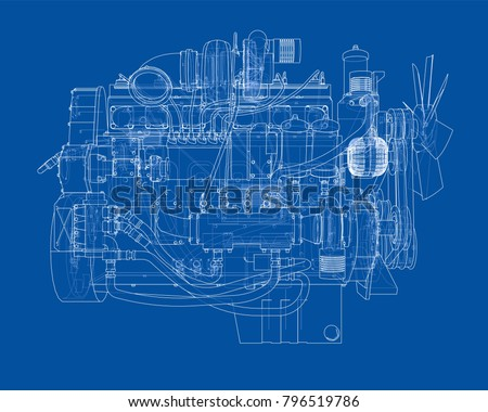 Fondo de dibujo de lnea de motor de automvil descargue grficos car engine vector eps10 format rendering of 3d malvernweather Images