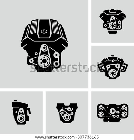 car engine vector icons