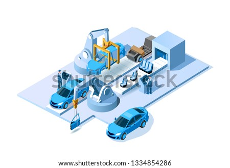 Car factory. Automobile plant. Automotive assembly line. Engineering systems automobile production line. Car manufacturing process. Conveyor for assembly of cars vector 3d isometric illustration