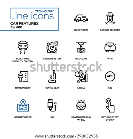 Car features - line design icons set. Conditioner, parking sensors, electronic stability control, stereo, cam, wi-fi, transmission, heated seat, airbag, gps navigator, steering wheel, usb,