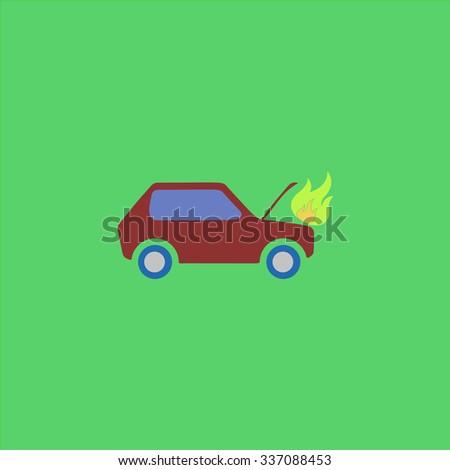 car fired icon vector icon