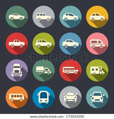 Shutterstock Car flat icon set