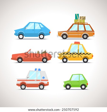 Car Flat Icon Set 1