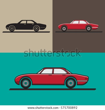 Car flat icon set. Vector illustration. Vector car.