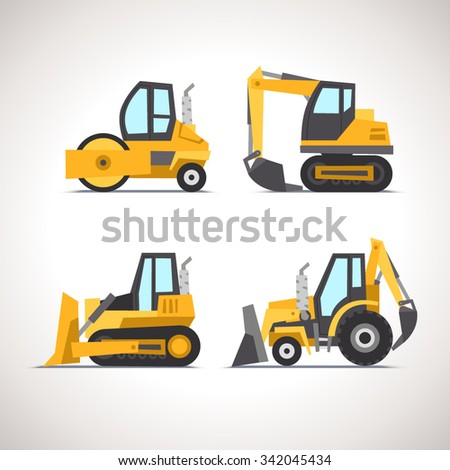 Car Flat Icon Set with Construction Equipment: Road Roller, Excavator, Bulldozer and Tractor