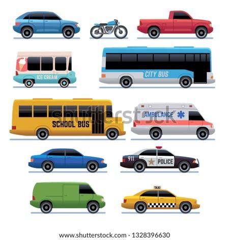 Car flat icons. Public city transport bus, cars and bike, truck. Vehicle vector cartoon symbols