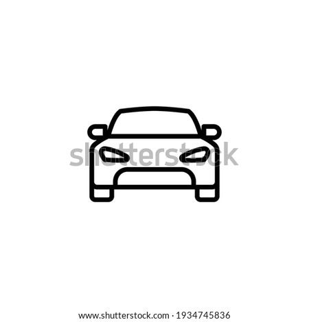 Car front line icon. Simple outline style sign symbol. Auto, view, sport, race, transport concept. Vector illustration isolated on white background. EPS 10.