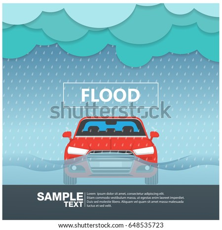 car front view in a flood rainy