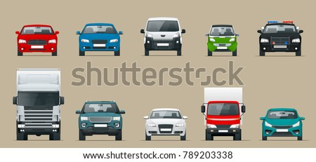 Car front view set. Vehicles driving in the city. Vector flat style cartoon illustration isolated on grey background Foto d'archivio ©