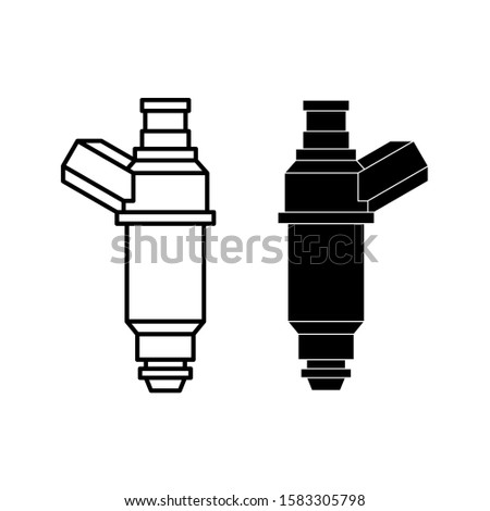 Car fuel injector illustration. Engine injection element. Line style and silhouette versions. Adjustable stroke width.