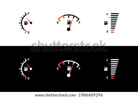 Car fuel tank indicator with gas, petrol, diesel gauge set. Different dashboard auto panel equipment with arrow needle for indicating fuel level vector illustration isolated on black white background ストックフォト ©