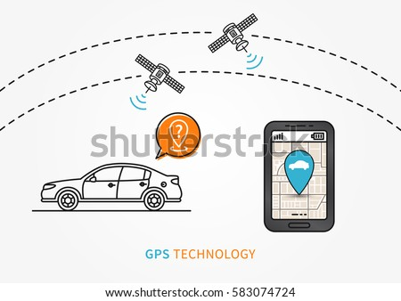 Car GPS search vector illustration. Navigation technology for automobile or motor vehicle creative concept. GPS satellites help to find car graphic design.