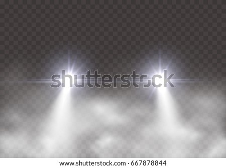 car headlight effect in fog
