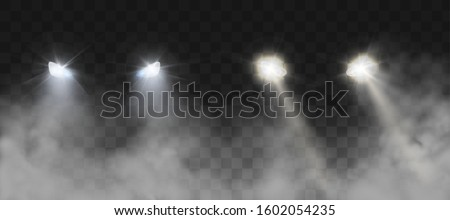 Car headlights shining on road in fog at night. Vector realistic set of front triangle lamps flares and glow beams in darkness with smoke isolated on transparent background