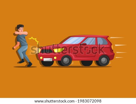 Car hit people, hit and run car crash and accident illustration cartoon vector Stock photo ©