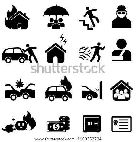 Car, home, health insurance icon set