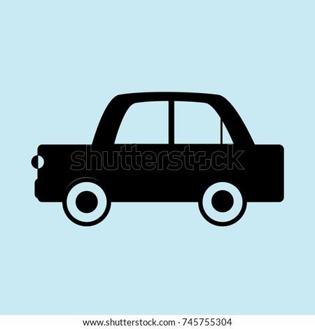 car icon  blue background  black