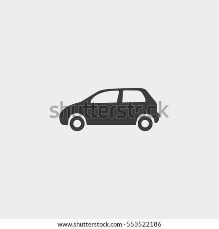 Car icon in a flat design in black color. Vector illustration eps10