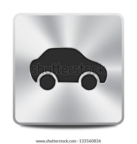Car icon - round square metal button