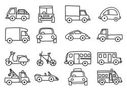 car icon set hand drawn vector line art illustration