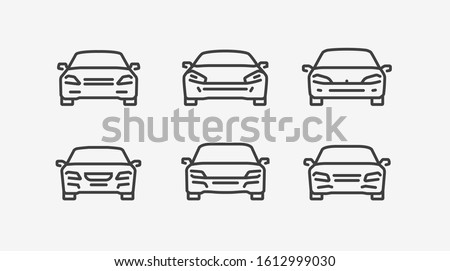 Car icon set in linear style. Transport vector illustration