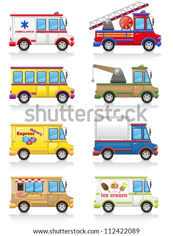 car icon set vector illustration isolated on white background - stock vector